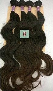 Kit Fibra Orgânica (Hair Dreams) LISO - Cor Ombré Castanho Médio com Castanho Claro - 1 peça 45cm / 1 peça 50cm / 1 peça 55cm / 1 peça 60cm  - Total 200 Gramas