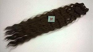 Fibra Orgânica (Hair Dreams) Leve Ondulação -  01 Peça com 1.20 mt de Tela - Cor Castanho Médio -  60cm 100 Gramas