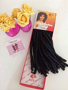 Nina Softex - Fibra para Crochet Braids - Cor 01 Preto - 40cm dobrado 80cm aberto