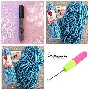 Combo de 02 Curly Tube cor Azul Céu + 01 Batom Líquido Matte Cor Eclipse (Cinza Escuro) + 01 Agulha para Crochet Braids