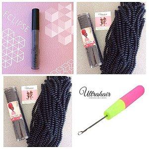 Combo de 02 Curly Tube cor Preto Azulado (TOM DE FUNDO AZULADO!) + 01 Batom Líquido Matte Cor Eclipse (Cinza Escuro) + 01 Agulha para Crochet Braids