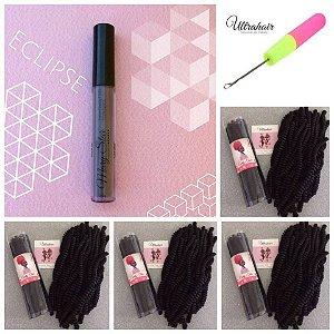 Combo de 04 Curly Tube cor PRETO + 01 Agulha para Crochet Braids + 01 Batom Líquido Matte Eclipse (Cinza Escuro)