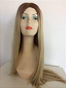 Front Lace de Fibra - Ombré Mel com Loiro - Lisa