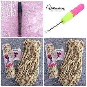 Combo de 02 Curly Tube cor Loiro Diva + 01 Batom Líquido Matte Cor Gorgeous (Marrom Escuro) + 01 Agulha para Crochet Braids