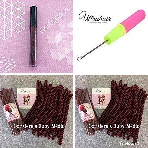 Combo de 02 Curly Tube cor Cereja Ruby Médio + 01 Batom Líquido Matte Cor Gorgeous  (Marrom Escuro) + 01 Agulha para Crochet Braids