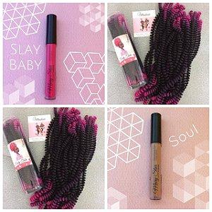 Combo de 02 Curly Tube cor Ombré Preto com Pink + 01 Batom Líquido Matte Cor Soul (Nude) + 01 Batom Líquido Matte Cor Slay Baby (Rosa Escuro)