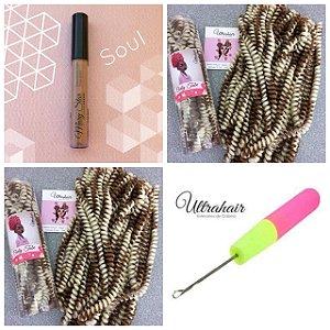 Combo de 02 Curly Tube cor Mesclado Loiro com Mel + 01 Batom Líquido Matte Cor Soul (Nude) + 01 Agulha para Crochet Braids