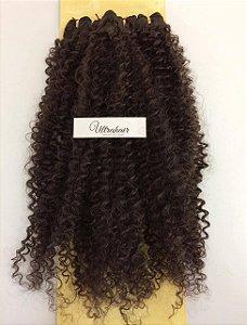 Kit Fibra Orgânica (Hair Dreams- Hair World) Cacho Médio - Cor Castanho Médio - Todas peças no tamanho de 55cm - Total 120 Gramas - 80cm de Tela em cada Peça