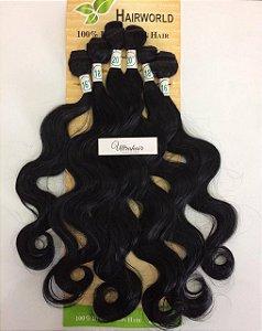 Kit Fibra Orgânica (Hair Dreams - Hair World) LISO - Cor Preto - 2 peças 45cm / 2 peças 50cm / 2 peças 55cm - Total 250 Gramas - 80cm de tela em cada