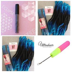 Combo de 02 Curly Tube cor Ombré Preto com Azul Escuro e Azul Bebê + 01 Batom Líquido Matte Cor Eclipse (Cinza Escuro) + 01 Agulha para Crochet Braids