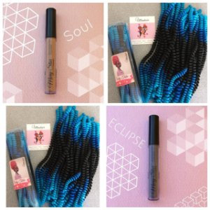 Combo de 02 Curly Tube cor Ombré Preto com Azul Escuro e Azul Bebê + 01 Batom Líquido Matte Cor Eclipse (Cinza Escuro) + 01 Batom Líquido Matte Cor Soul Nude)