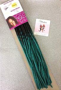 Dreads - Fibra para Crochet Braids - Cor Ombré Preto com Verde - 60cm - 95 gramas - 20 Dreads