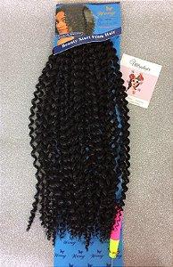 Fibra Weng Cacheada longa para Crochet Braids - Cor Preto - 130 Gramas - 50cm - VEM COM 01 AGULHA PARA CROCHET BRAIDS DE BRINDE!!!