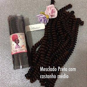 CURLY TUBE - FIBRA PARA CROCHET BRAIDS - COR MESCLADO PRETO COM CASTANHO MÉDIO 200 Gramas (Tamanho: 45cm Fechado - 90cm Aberto)