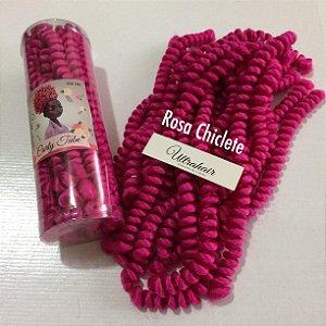 CURLY TUBE - FIBRA PARA CROCHET BRAIDS - COR ROSA CHICLETE 200 Gramas (Tamanho: 45cm Fechado - 90cm Aberto)