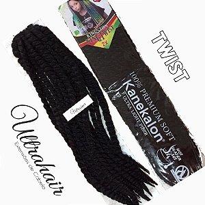 Twist Kingston Jamaica Kanekalon - 60cm - COR 01 Preto - 100 gramas - 12 Twists por Pacote