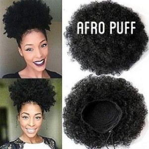 Afro Puff - Cor Preto -  Aplique Sintético com Elástico Regulador