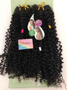 Fibra Orgânica Cacheada Linha Long Hair UltraHair - 60 cm - Cor Castanho Escuro - 190 gramas - 02 Telas com 2 metros cada, total de 4 metros de tela - (Vem com 03 Berloques de Brinde)