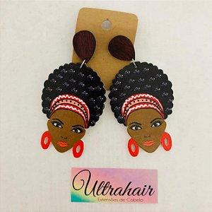 Par de Brincos Afro Style com detalhes em Vermelho
