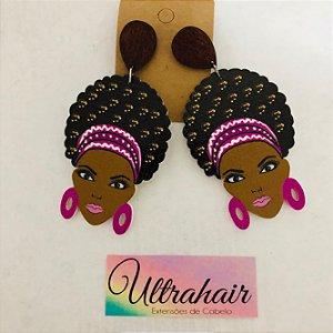 Par de Brincos Afro Style com detalhes em Roxo