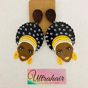 Par de Brincos Afro Style com detalhes em Amarelo