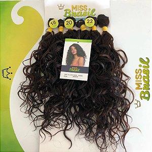 Kit Fibra Japonesa Orgânica Miss Brasil - Média Ondulação - Cor Mesclado Preto com Castanho - 220 gramas - 02 peças com 40cm / 02 peças com 45cm / 02 peças com 50cm