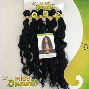 Kit Fibra Japonesa Orgânica Miss Brasil - Leve Ondulação - Cor Preto - 220 gramas - 02 peças com 40cm / 02 peças com 45cm / 02 peças com 50cm