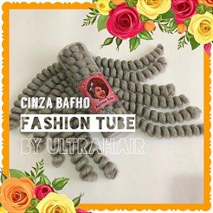 FASHION TUBE - FIBRA PARA CROCHET BRAIDS - COR CINZA BAFHO 200 Gramas (Tamanho: 22cm Dobrado -  44cm Aberto)