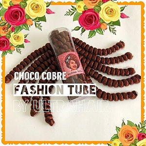 FASHION TUBE - FIBRA PARA CROCHET BRAIDS - COR CHOCO COBRE 200 Gramas (Tamanho: 22cm Dobrado - 44cm Aberto)