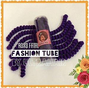 FASHION TUBE - FIBRA PARA CROCHET BRAIDS - COR ROXO FATAL 200 Gramas (Tamanho em Média: 22cm Dobrado - 44cm Aberto