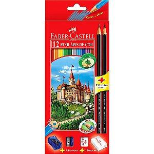 Lápis de Cor Sextavado 12 Cores Ecolápis c/ Kit Faber Castell