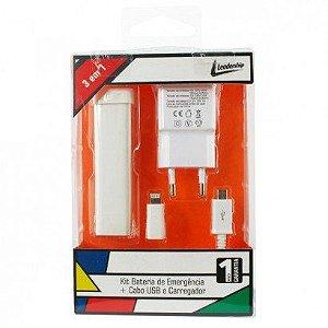 Kit Bateria de Emergência Cabo USB e Carregador Branco Leadership