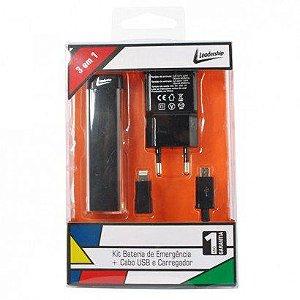 Kit Bateria de Emergência Cabo USB e Carregador Preto Leadership