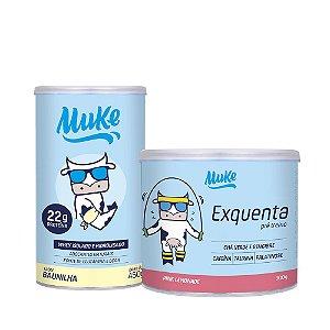 WHEY ISOLADO MUKE  - POTE 450G (Escolha o sabor) + EXQUENTA MUKE - PRÉ-TREINO - PINK LEMONADE - 300G