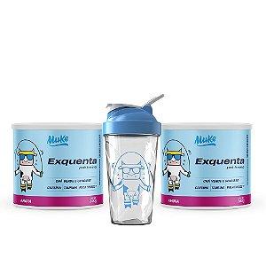 2 Exquentas Muke - Pré Treino - Sabor Amora - 300g + Ganhe Coqueteleira Personalizada