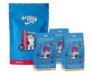 1 Refil Mais Mu Tradicional - Morango + 3 Chocoballs