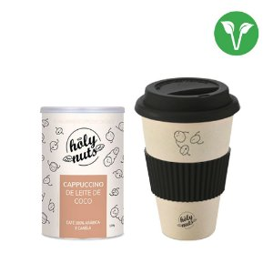 Combo 1 Cappuccino de Leite de Coco Holy Nuts + Copo Personalizado