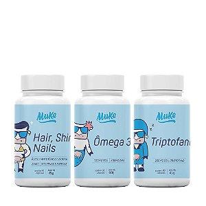 Combo Hair Skin Nails + Omega 3 + Triptofano