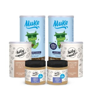 Proteína Vegetal Muke Chocolate c/ Avelã (2 Potes) + 2 Cremes Crunchy (Chocolate Branco) + 2 Cappuccinos Holy | Combos Blue Friday