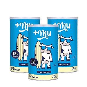 Whey +Mu Baunilha (Concentrado) - 3 Potes 450g