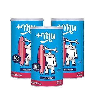Whey +Mu Morango (Concentrado) - 3 Potes 450g