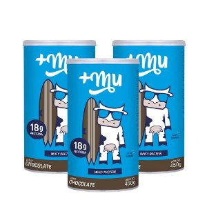 Whey +Mu Chocolate (Concentrado) - 3 Potes 450g | Combos Blue Friday