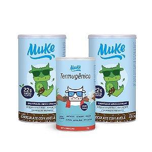 Compre 2 Potes Proteína Vegetal Muke - Chocolate c/ Avelã (450g) + GANHE 1 Termugênico Muke (105g)