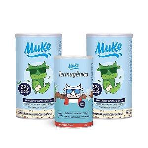 Compre 2 Potes Proteína Vegetal Muke - Torta de Banana c/ Canela (450g) + GANHE 1 Termugênico Muke (105g)