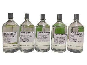Álcool Líquido  70% Hidratado Para Limpeza -  1 Litro  - 6 Unidades