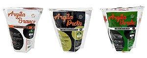 Kit C/ 3 Argilas Faciais Dermabel  Branca Preta E Verde  500 Gramas