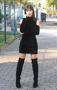 Vestido de veludo manga longa