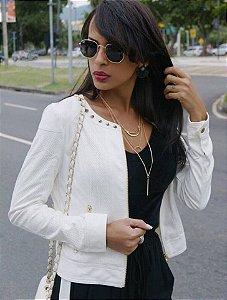 Jaqueta de camurça branca