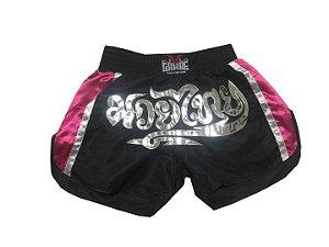 Short Fight Thai - Preto Pink
