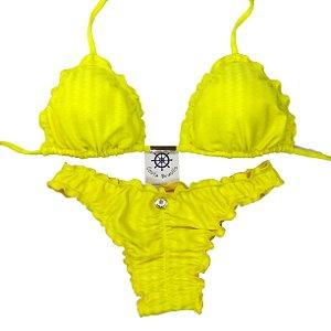 Empina Bumbum fechado com busto cortininha ripple Amarelo Texturizado